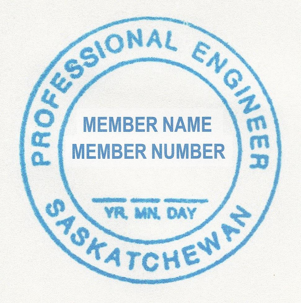 Professional Engineer Seal Province of Saskatchewan Canada