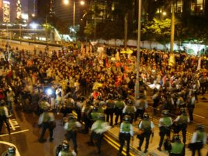 2000s in Hong Kong - Protesters occupied Gloucester Road at the 2005 WTO conference