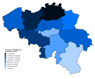 Provinces of Belgium - Provinces of Belgium (including the Brussels-Capital Region) by population as of 1 January 2018