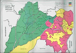 Radcliffe Line - Districts of Punjab with Muslim (green) and non-Muslim (pink) majorities, as per 1941 census