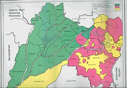Districts of Punjab with Muslim (green) and non-Muslim (pink) majorities, as per 1941 census Punjab-religion-2.jpg