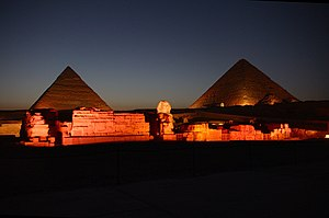pyramids at night