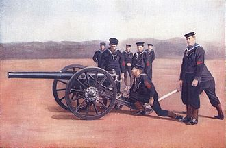 Ordnance QF 12-pounder 8 cwt - Royal Navy gun and crew, late 1890s