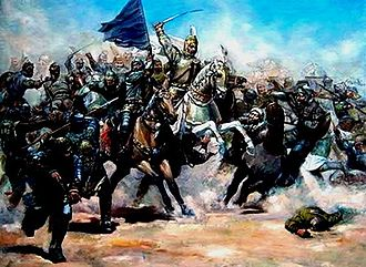 Qara Yusuf - Modern picture of Qara Yusif leading Kara Koyunlu army against Shirvanshahs in 1412
