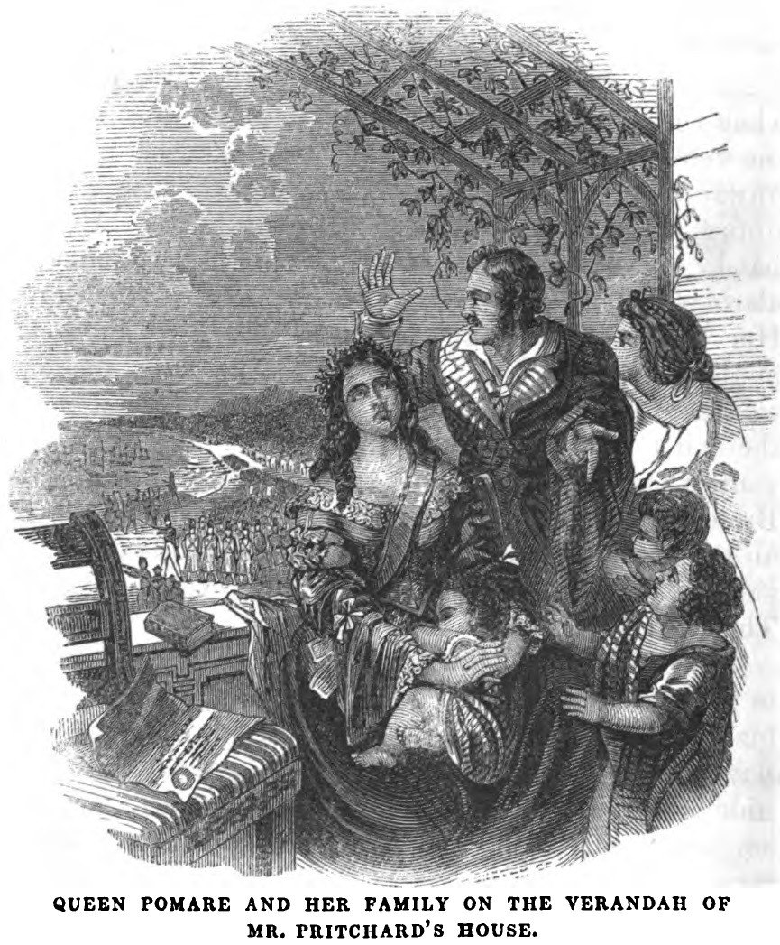 Queen Pomare and her Family on the Verandah of Mr. Pritchard%27s House, during the French Invasion of Tahiti (1847) - Copy