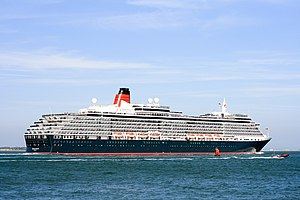Port of Southampton - Queen Victoria at Calshot, departing Southampton, June 2013.