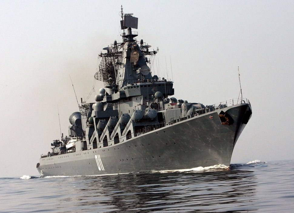 RIAN archive 395186 Russia will celebrate Pacific Fleet Day on May 21. The Guards guided-missile cruiser Varyag underway at sea