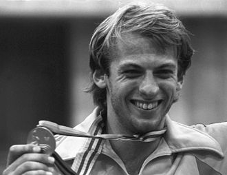 Fencing at the 1980 Summer Olympics - Johan Harmenberg during the victory ceremony. RIAN photo.