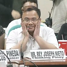 RJ Nieto during a Philippine Senate hearing on the Proliferation of Fake and/or Misleading News and False Information