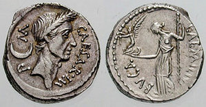 Caesar was the first to print his own bust on a Roman minted coin.