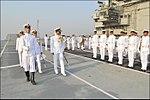 Radm MA Hampiholi, NM inspecting teh guard of honour onboard deck of INS Viraat.jpg