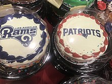 Cakes Bearing The Logos Of Los Angeles Rams And New England Patriots Ahead Super Bowl LIII