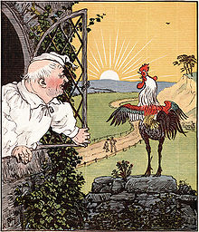 illustration of crowing rooster facing the rising sun with a man, dressed in nightcap and sleeping gown, leaning out the window. Background shows two small figures walking along a fenced road.