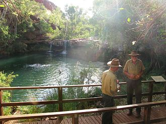 Department of Environment and Conservation (Western Australia) - Western Australia Department of Environment and Conservation National Park Rangers at Fern Pool, Karijini National Park, Pilbara in September 2012