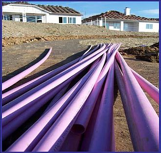Sly Park Dam - Purple pipe used for reclaim water in new homes.