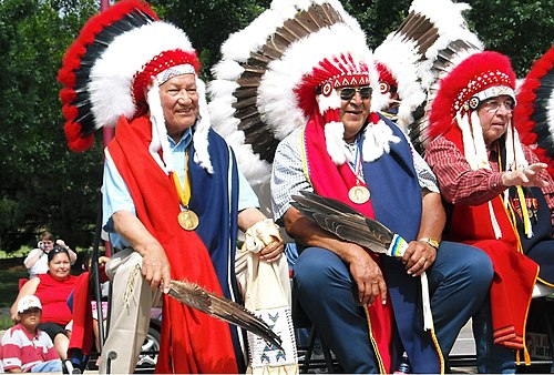 Southern Cheyenne Chiefs Lawrence Hart, Darryl Flyingman and Harvey Pratt in Oklahoma City, 2008 Red Earth Parade Cheyenne Chiefs Becky Meyer.jpg