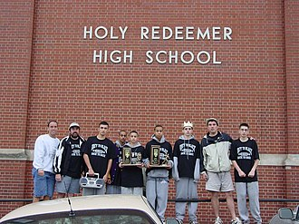Holy Redeemer High School (Detroit) - Cross-country team having just returned home after winning the Catholic High School League Cross-country Championship-the final championship in school history (October, 2004).