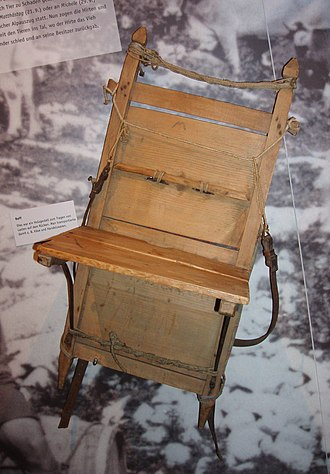 Backpack - A back frame with shelf used to carry loads in the Allgäu, where it is known as a Reff