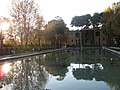 Reflection pool in park in Esfahan (2151269037).jpg