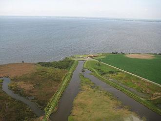 Currituck National Wildlife Refuge - Aerial view of the refuge headquarters along the coastline in the Currituck National Wildlife Refuge.
