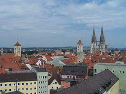 Vy over det centrale Regensburg.