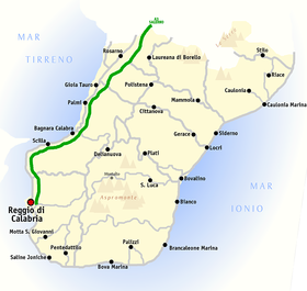 Map of the province of Reggio Calabria