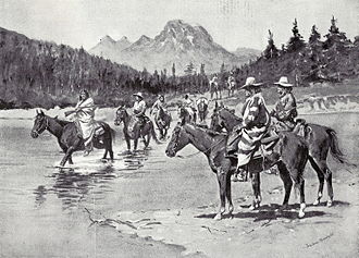 Bannock War of 1895 - Recent Uprising Among the Bannock Indians. A Hunting Party Fording the Snake River Southwest of the Three Tetons.