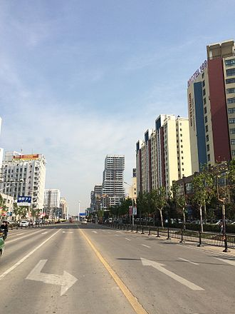 Suqian - Image: Renmindadao road and Xihu road intersection.to west,see Xihu road.20141105