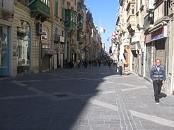 Republic Street - a pedestrianised street in Valletta