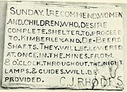 """Rhodes' message to residents stating: """"Sunday. I recommend women and children who desire complete shelter to proceed to Kimberley and De Beers shafts. They will be lowered at once in the mines from 8 O'clock throughout the night. Lamps and guides will be provided. C.J. Rhodes"""""""