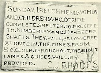 Rhodes' message to the residents of Kimberley, offering shelter in the Kimberley Mine Rhodes message.jpg