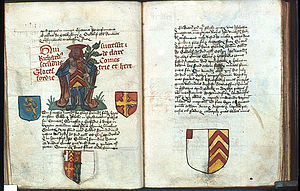 De Clare - Arms of Richard de Clare II, Earl of Hertford and Gloucester, Founders book of Tewkesbury Abbey, c. 1525
