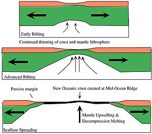rifting-to-spreading transition  passive continental margin