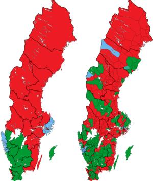 Rigsdagsvalget i Sverige 1970 i valgkredse og kommuner.png