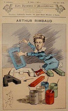 ARTHUR RIMBAUD par Mallarmé dans LITTERATURE FRANCAISE 220px-Rimbaud_Voyelles_caricature