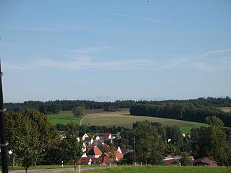 Battle of Biberach (1796) - Looking south toward the distant Alps from Ringschnait, a village near Biberach an der Riss
