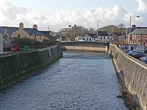 River Ogmore - The Ogmore and its tributaries were confined to narrow concrete channels to prevent flooding