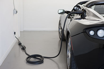 The Tesla Roadster (2008) was the first all-electric sports car for sale and in serial production. It can completely recharge from the electrical grid in 4 to 48 hours depending on the outlet used.