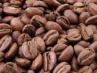 Coffee beans; a coffee bean contains between 0.8 - 2.5% caffeine.