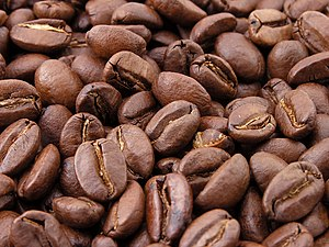 Roasted coffee beans Español: Granos de café tostado (natural). Bahasa Indonesia: Biji kopi alami yang telah disangrai. (Photo credit: Wikipedia) Roasted coffee beans Español: Granos de café t...