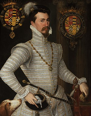 Collar (order) - Robert Dudley, Earl of Leicester, his arms at left are surrounded by the Collar of the Order of St Michael.