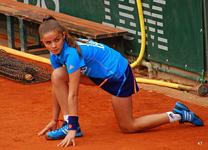 Ball boy - A ballgirl at the 2014 French Open in tennis.