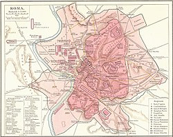 Map of the city of Rome with a red dot on the Archbasilica of Saint John Lateran