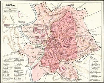 Los límites de las Murallas Servianas, y la ciudad de Roma dentro de ellas, en rosa oscuro