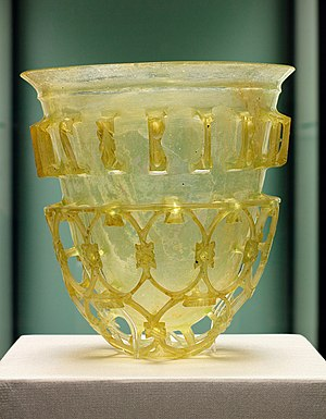 Roman technology - A Roman cage cup from the 4th century AD hypothesized as a floating wick oil lamp to give magical downwards lighting effects