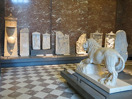 Room with funerary lion and steles (Louvre)