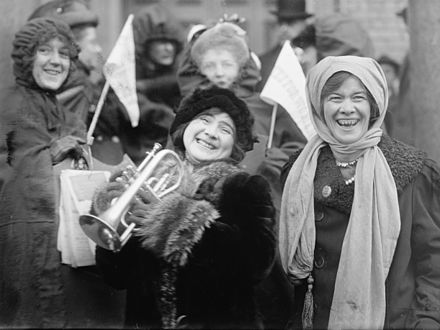 Women suffragists demonstrating for the right to vote in 1913. Rose-Sanderson-Votes-for-Women.jpeg