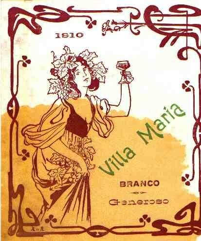 Rotulo de 1910 da adega da Villa Maria do morgado João Inácio de Bettencourt Noronha produzido ilha de São Jorge.