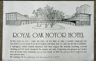 Lympne - Sign placed at site of Royal Oak Motel