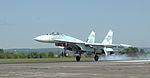 Russian air force Su-27 Flanker aircraft lands after the first day of Vigilant Eagle.jpg
